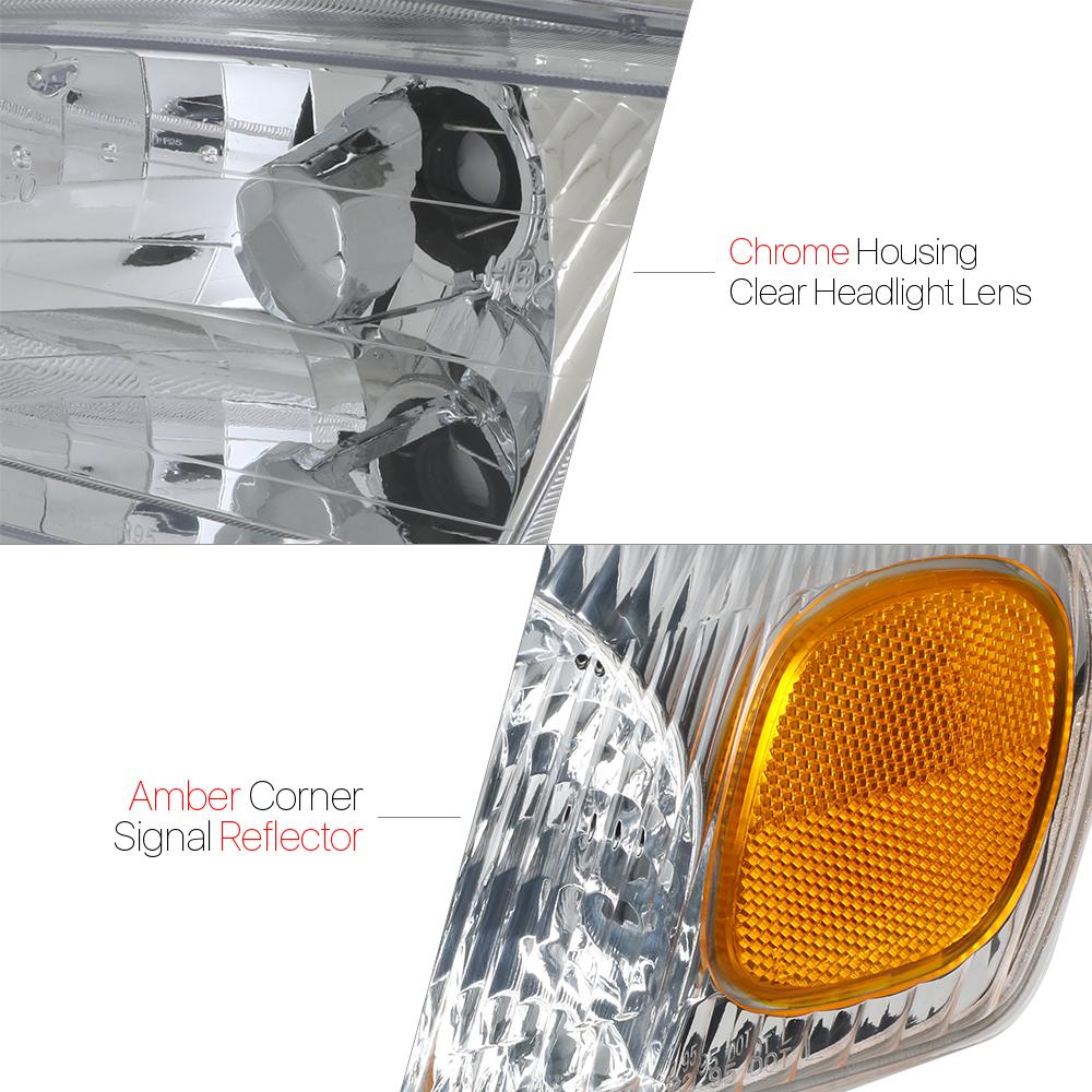 Chrome Housing Headlight+Amber Signal Reflector Corner for 98-00 Toyota Corolla