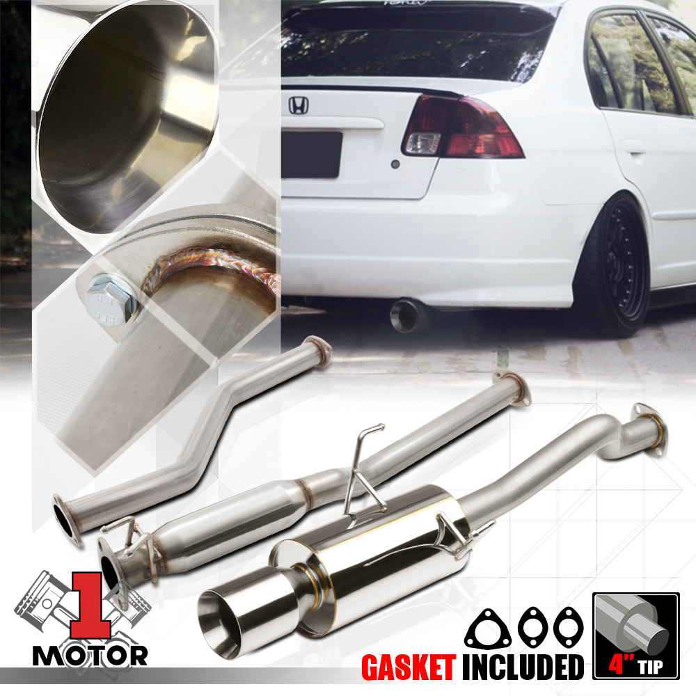 """4/"""" Muffler Tip Exhaust Catback System For 01-05 Civic EX 1.7L Stainless Steel"""