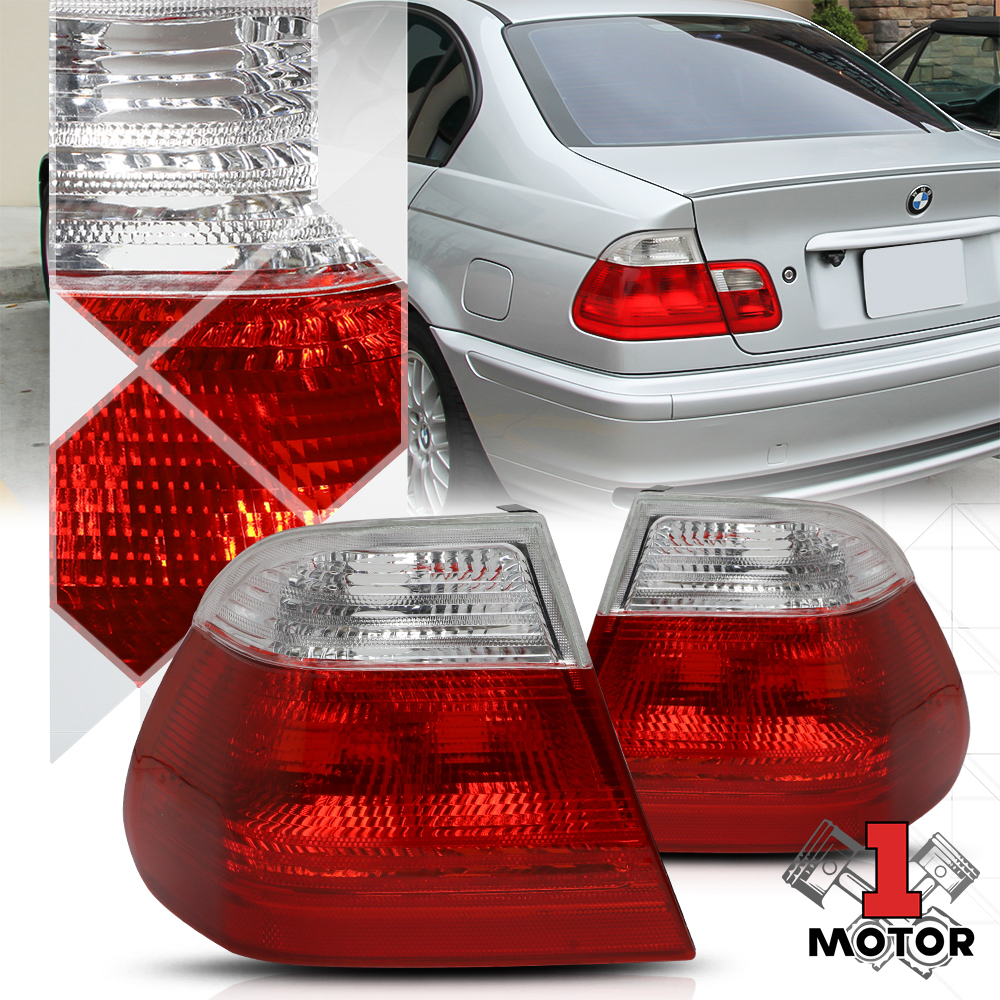 Details about Crystal Red/Clear Lens Tail Light Rear Brake Lamp for 99-01  BMW E46 3-Series 4Dr