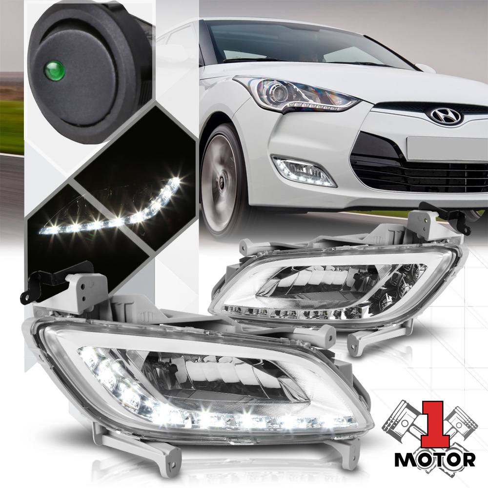 Details about Crystal Clear LED DRL Fog Light Bumper Lamps w/Switch+Harness on