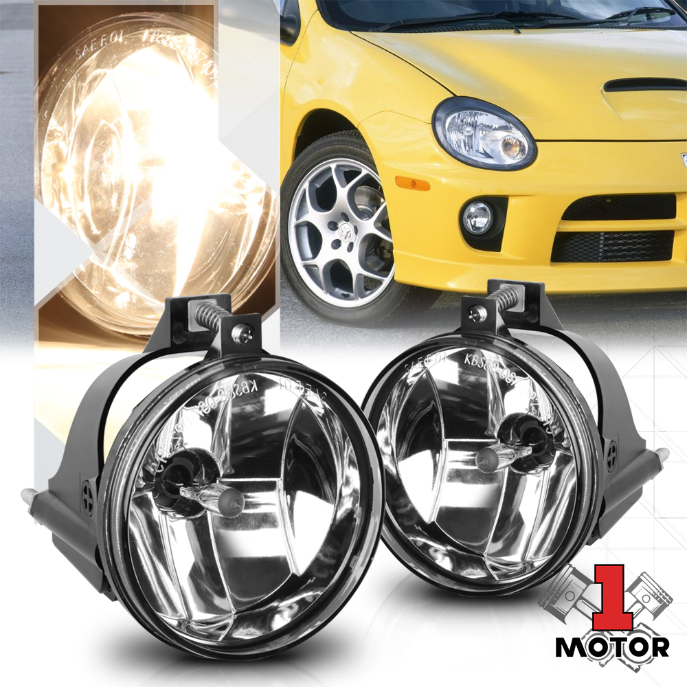 For Chrysler Dodge Jeep Clear Lens Chrome Housing Replacement Fog Lights Lamps
