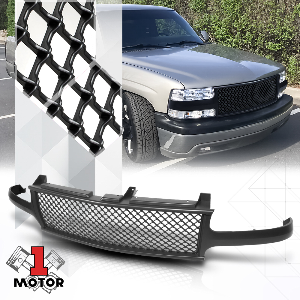 Glossy Silver ABS Vertical Bar Billet Grille fits 99-02 Silverado//Tahoe//Suburban