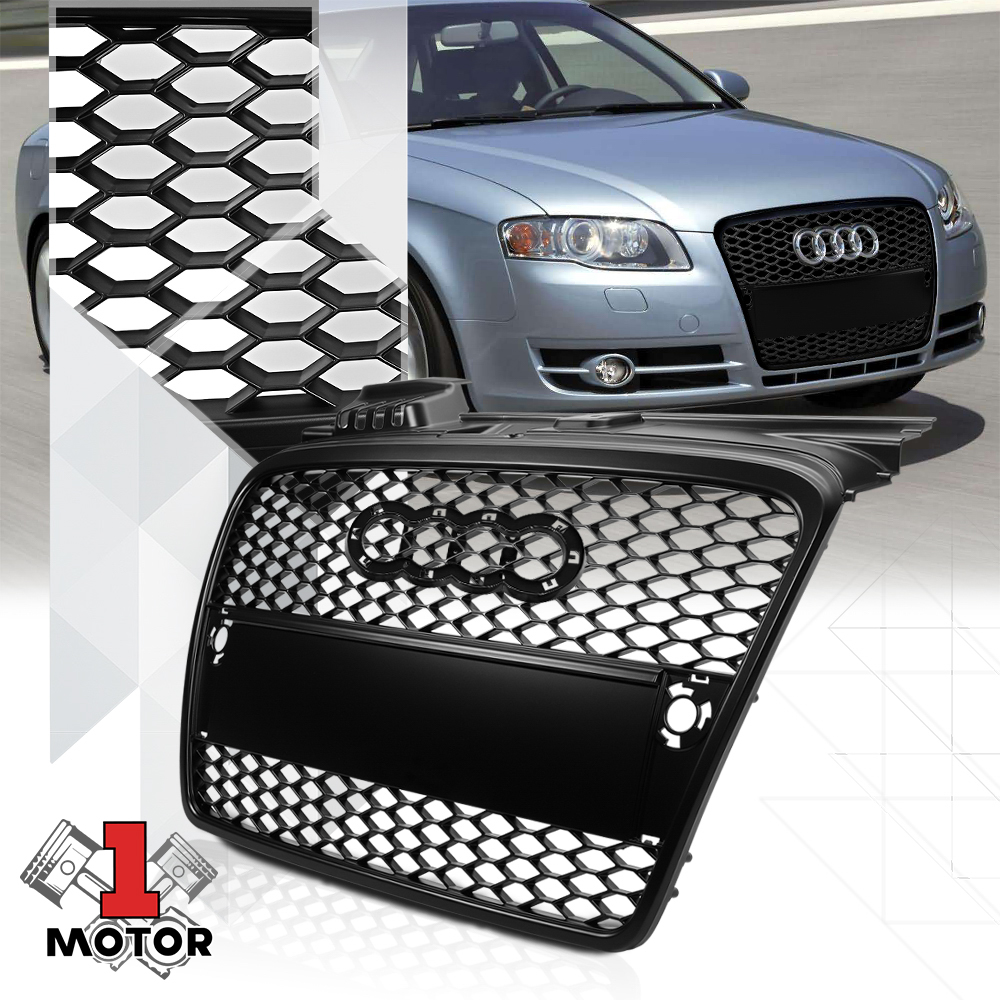 B7 Typ 8E//8H Chrome For Audi A4 Quattro ABS Plastic Honeycomb Mesh Style Front Grille