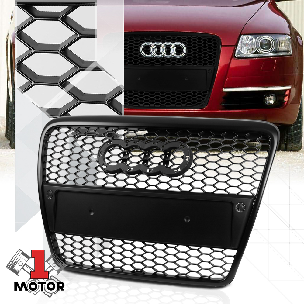 Black honeycomb mesh car grill compatible with A6 2008-2011 C6 4F S6 RS6