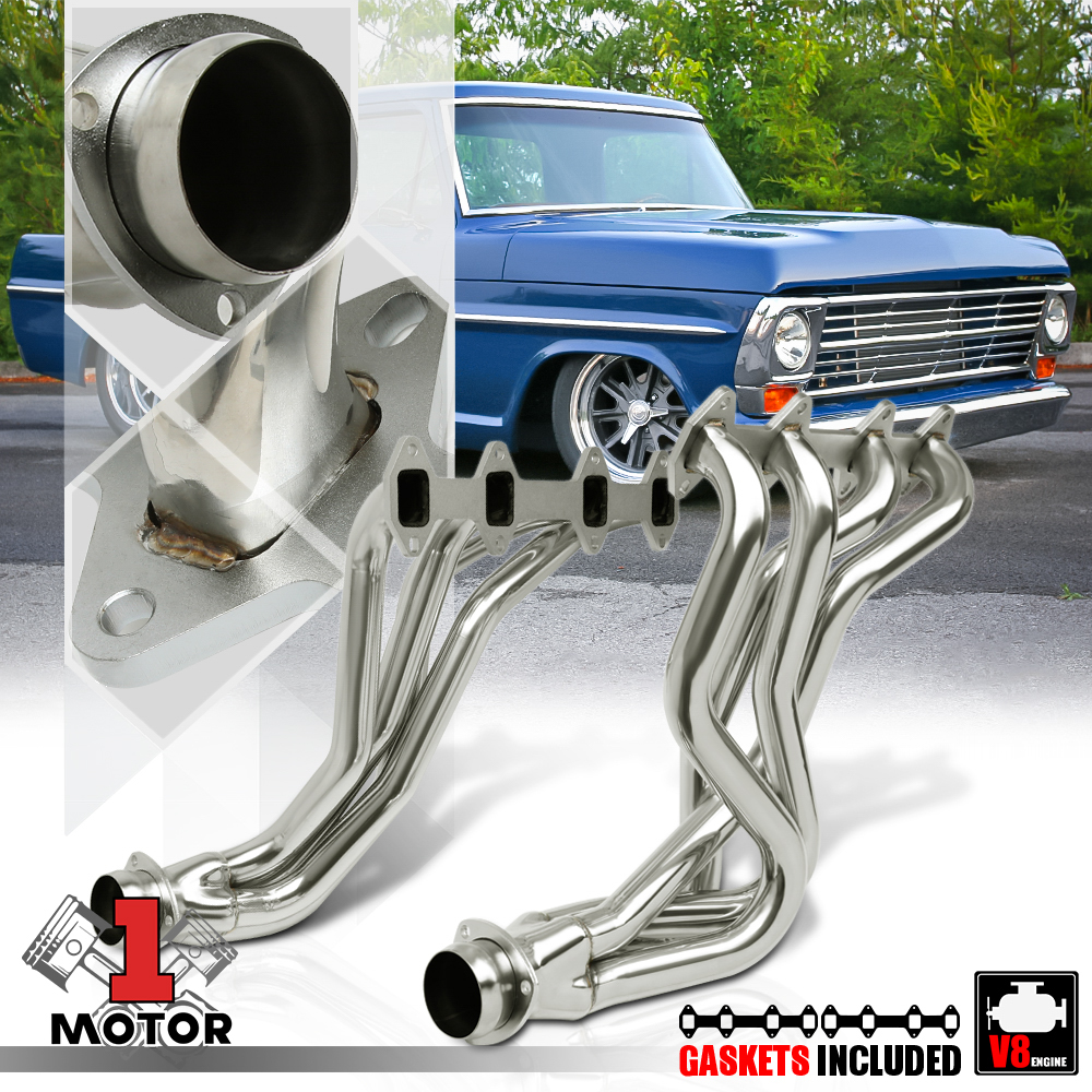 SS Long Tube Exhaust Header Manifold for 77-79 Ford F100//F150//F250 5.8//6.6 V8