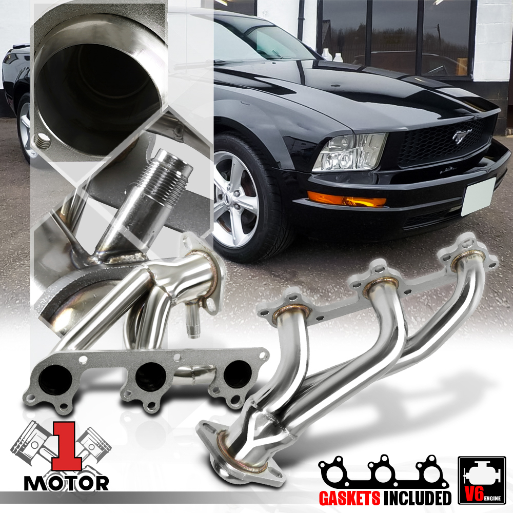 Details about stainless steel shorty exhaust header manifold for 05 10 ford mustang 4 0 245 v6
