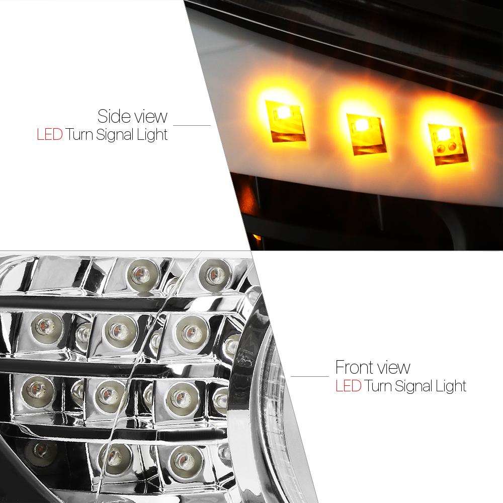 Chrome Dual 3D Halo Projector Headlight LED Turn Signal for