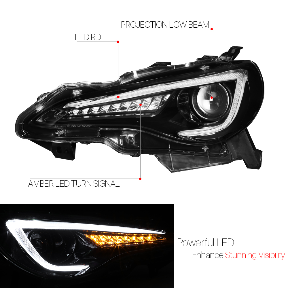 Black Projector Headlight Led Drl Sequential Signal Lamp