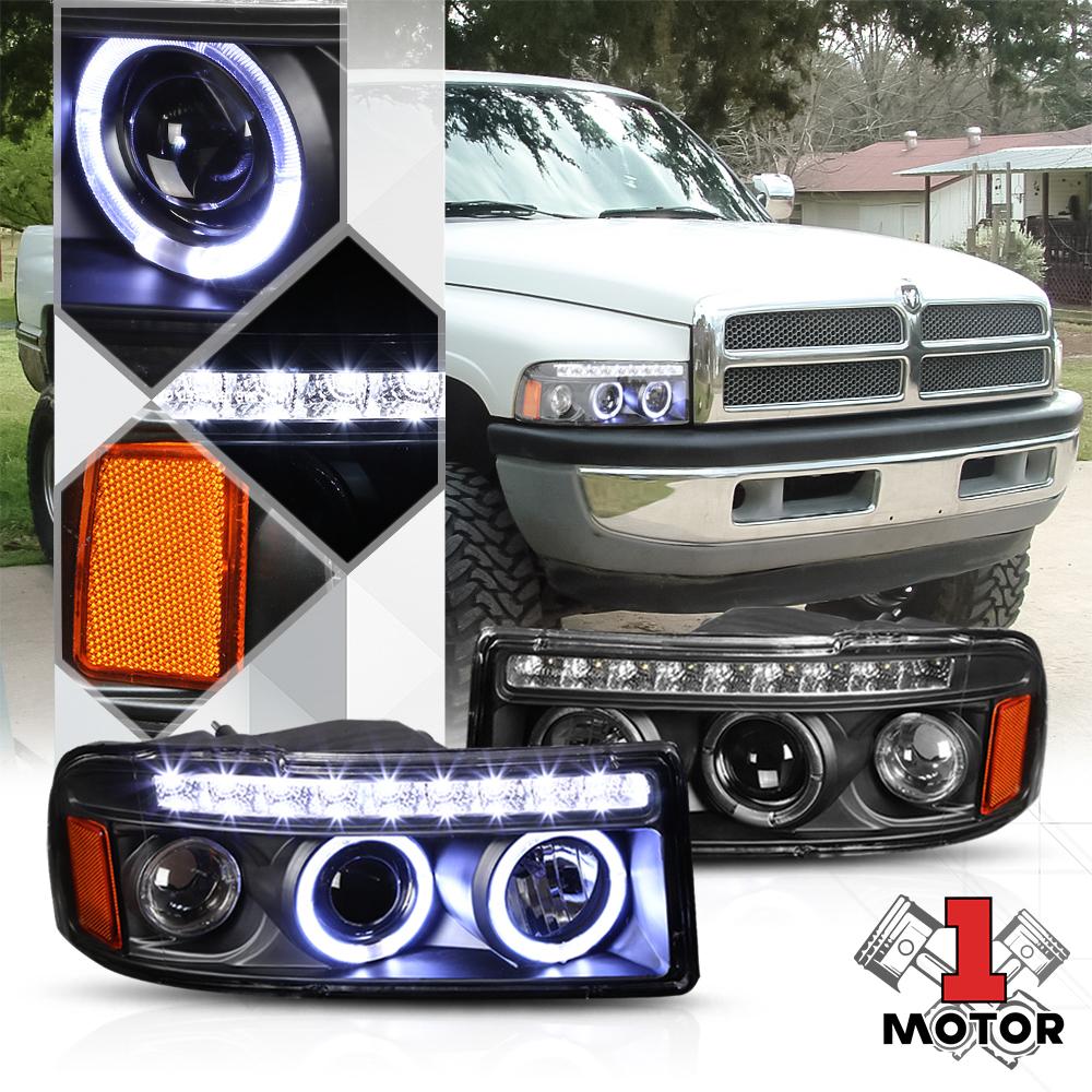 BLACK DUAL HALO PROJECTOR+LED 1PC CLEAR HEADLIGHT+CORNER+FOG LIGHT FOR 94-02 RAM