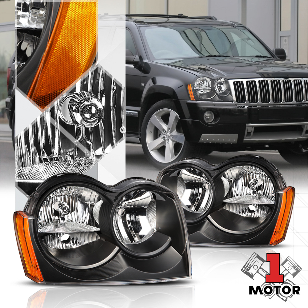 Black Housing Headlight Amber Signal Reflector For 05 07 Jeep Grand