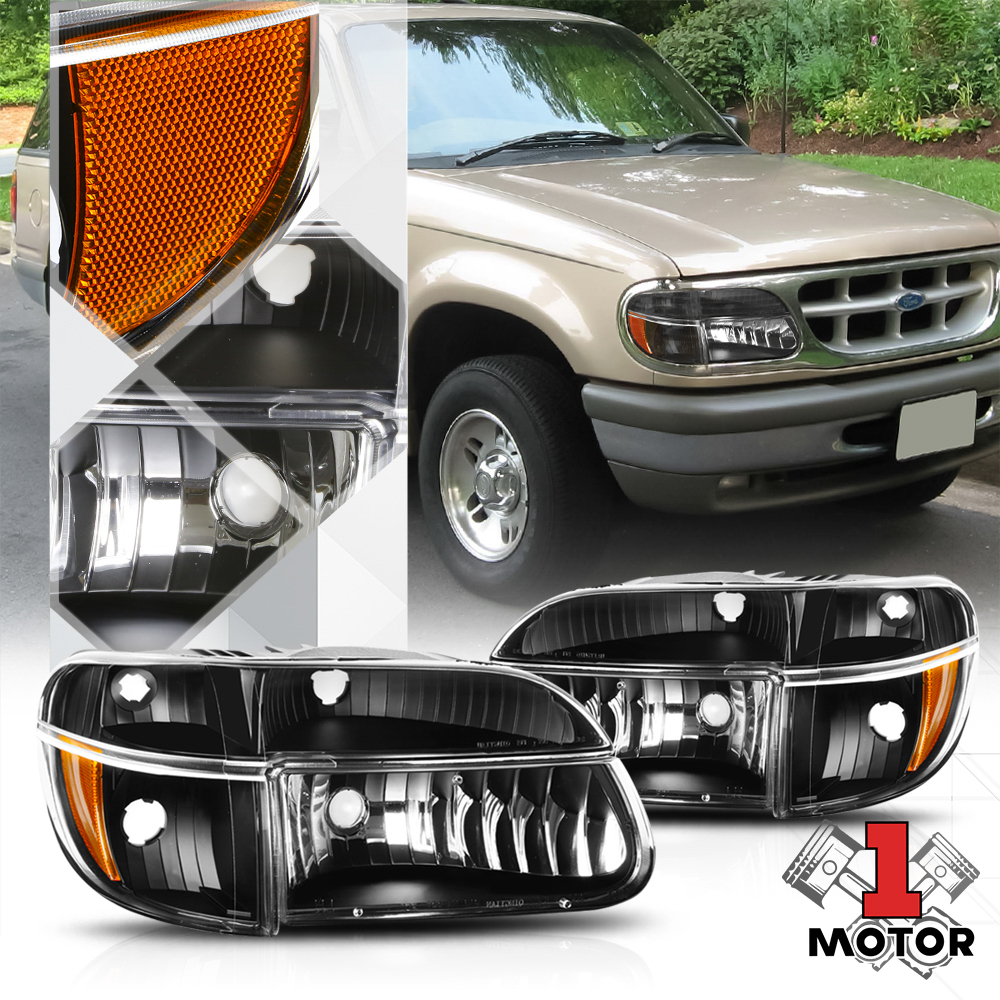 Details About Black Housing Headlight Amber Turn Signal For 95 01 Ford Explorer 97 Mountaineer