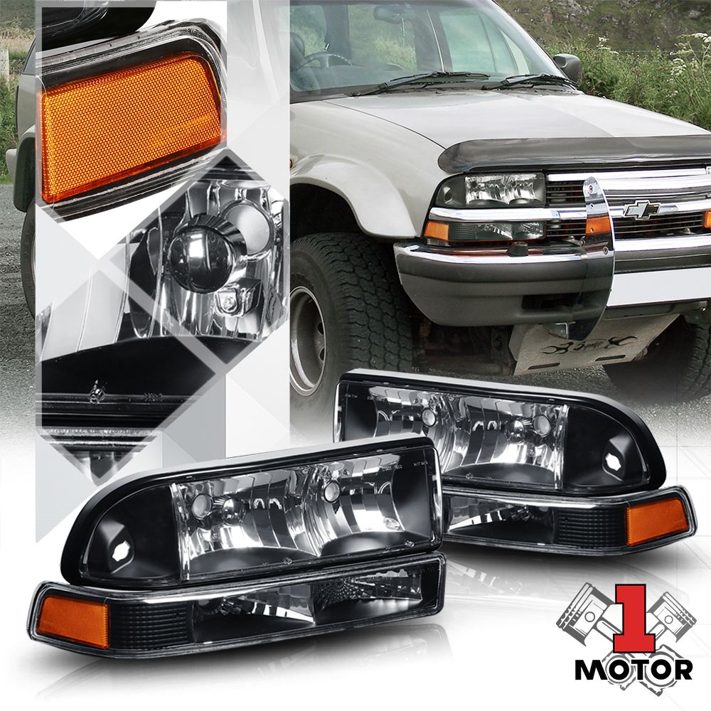 Details About Black Housing Headlight Amber Signal Reflector Per For 98 04 Chevy S10 Blazer