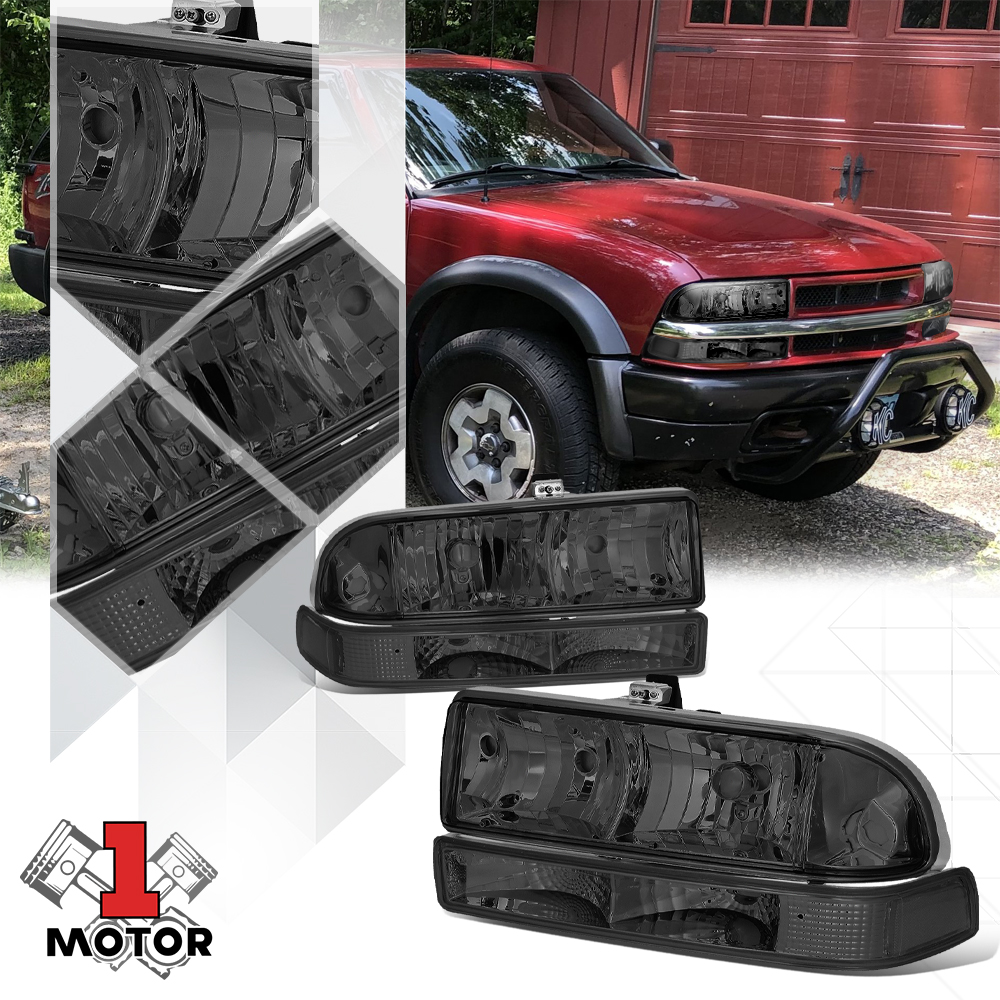 Smoke Tinted Headlight Clear Signal Reflector Per For 98 04 Chevy S10 Blazer