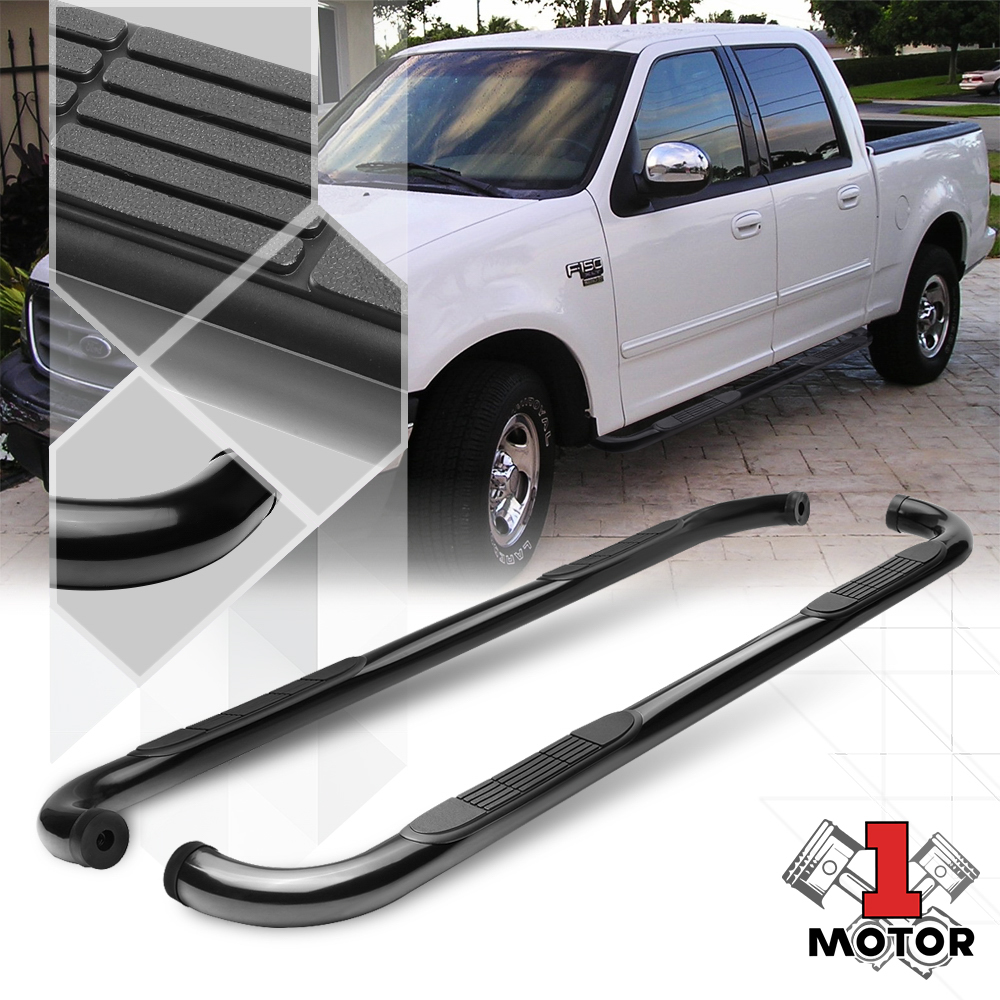 """FOR 01-03 FORD F150 CREW//SUPERCREW CAB BLACK 3/""""SIDE STEP NERF BAR RUNNING BOARD"""