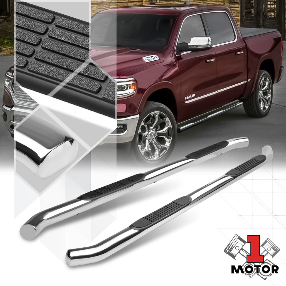 """3/"""" Round Side Bars Running Boards for 2019 New Body Dodge Ram 1500 Crew Cab"""
