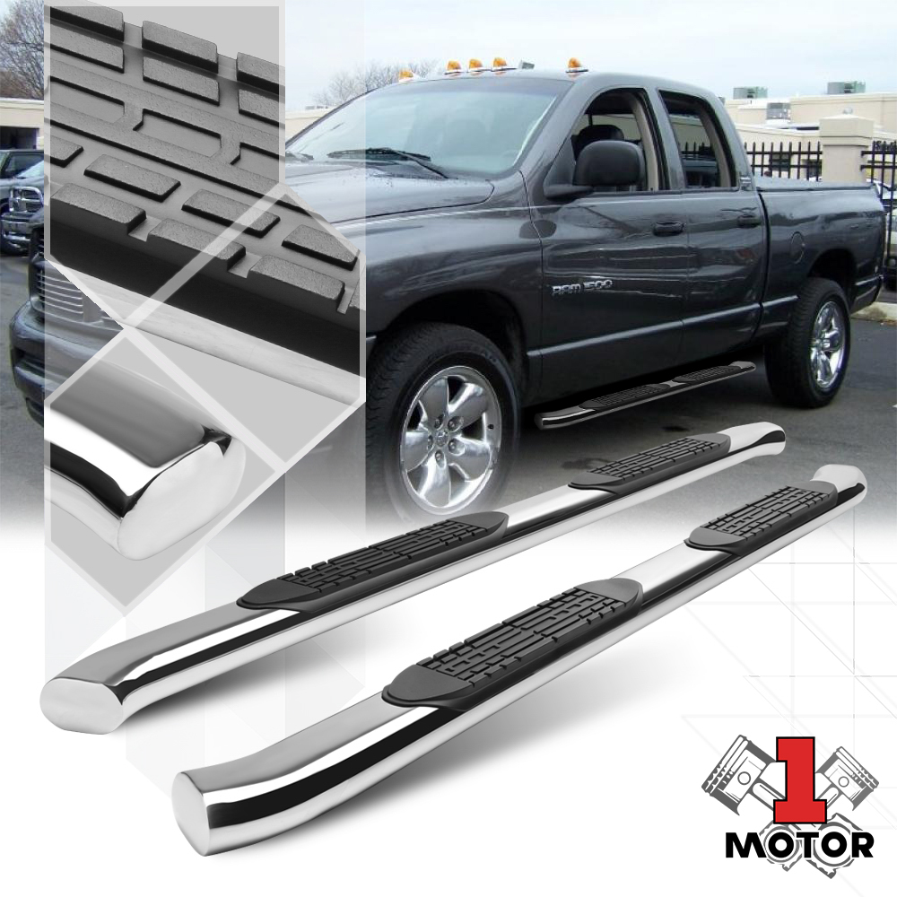 "Chrome 4/"" Oval Curved Tube Side Step Nerf Bar for 01-16 Chevy Silverado Crew Cab"