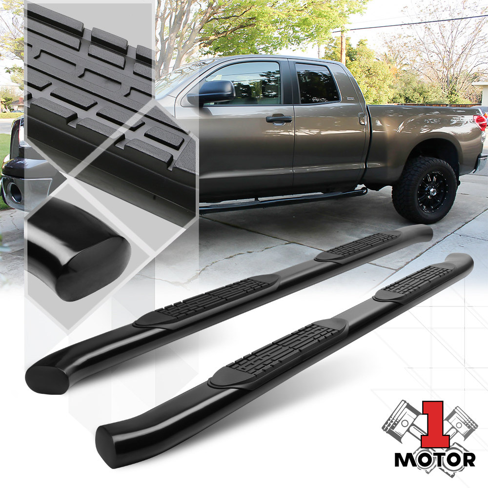"""for 07-19 Toyota Tundra Double Cab Black 4/"""" Oval Side Step Nerf Bar Stainless"""