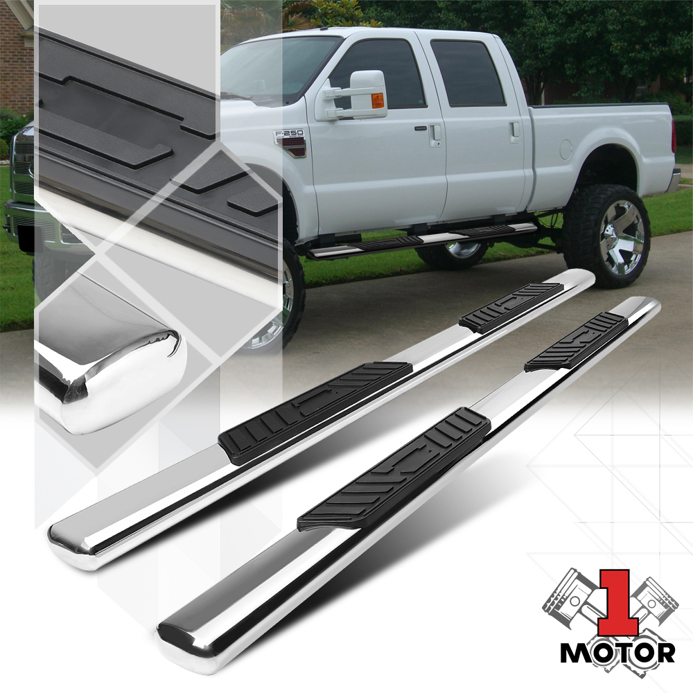 """Chrome 4/"""" Oval Curved Side Step Nerf Bar for 15-18 F150//F250 Crew//SuperCrew Cab"""