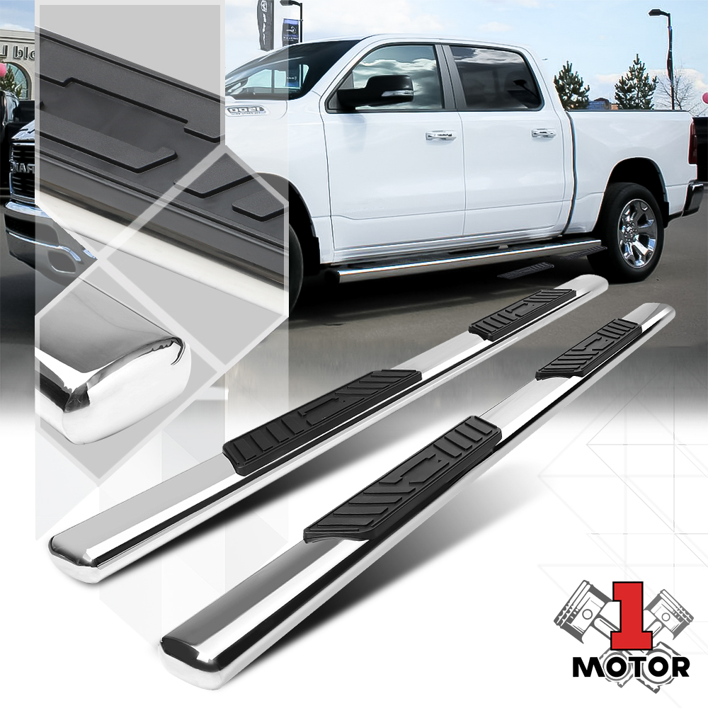 """Chrome 4/"""" Oval Curved Side Step Nerf Bar for 07-19 Tundra CrewMax//Ext Crew Cab"""
