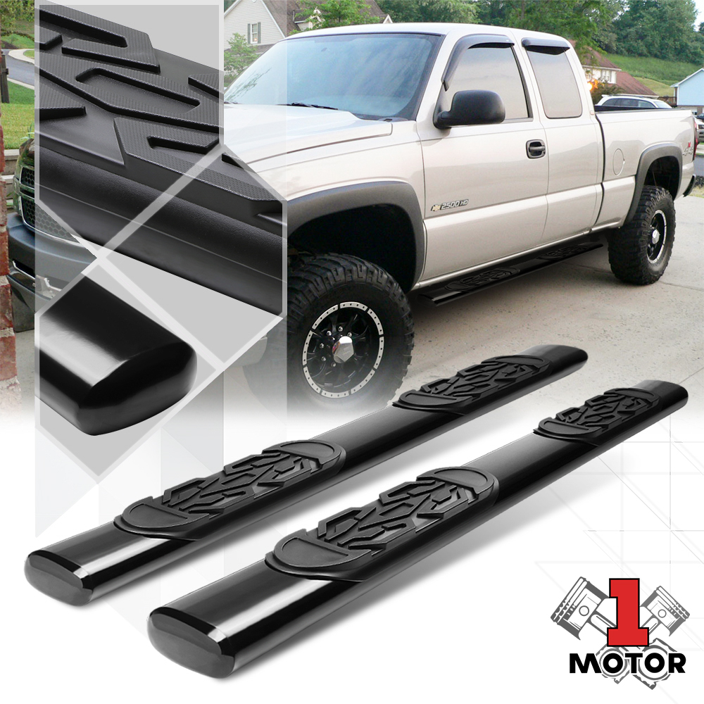 "Black 5/""Oval Side Step Nerf Bar Running Board for 99-16 Silverado//Sierra Ext Cab"