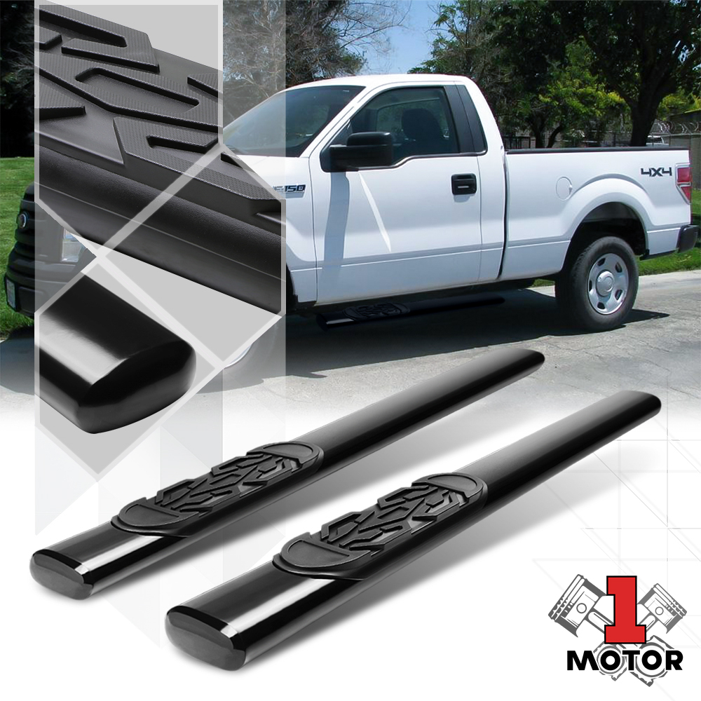 "FOR 09-14 FORD F150 STD//REG CAB TRUCK BLACK MILD STEEL 3/"" SIDE STEP NERF BAR KIT"
