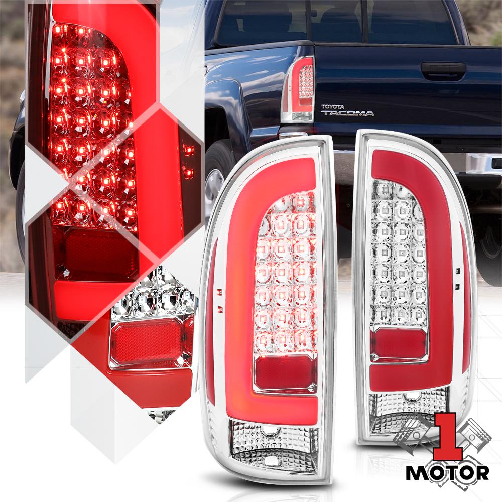Chrome//Red *TRON LED BAR* 3D Neon Tube Tail Light Lamp for 05-15 Toyota Tacoma