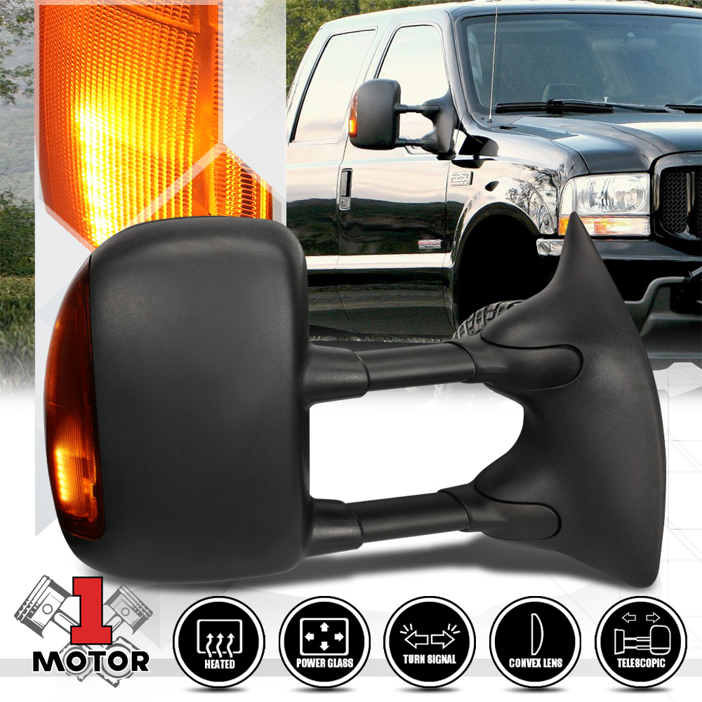 99-07 Ford SuperDuty Power Heat Side View Mirrow Telescoping Towing LED Signal