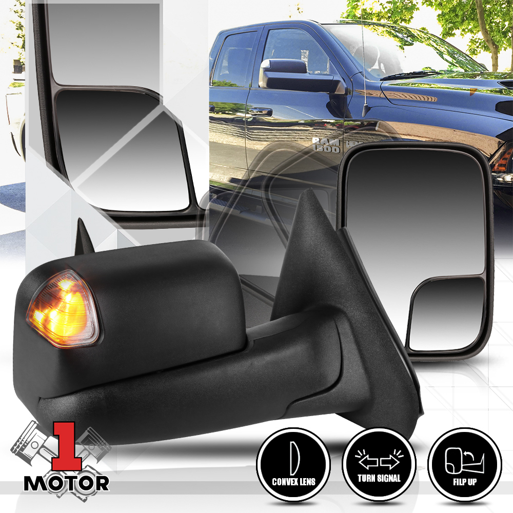 Power+Heated Flip Up LED Signal Towing Side Mirror for 09-16 Ram 1500 2500 Pair