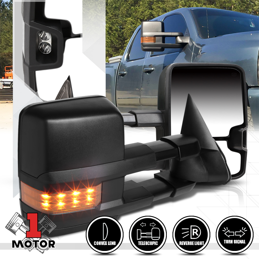 For 88-00 Chevy GMC C//K Suburban 1500 2500 Power+LED Signals Towing Mirrors Pair