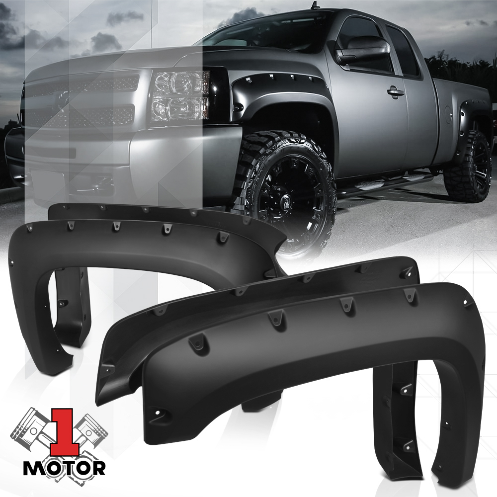 POCKET STYLE FENDER FLARES WHEEL COVER FIT 07-13 CHEVY SILVERADO 1500 SHORT BED
